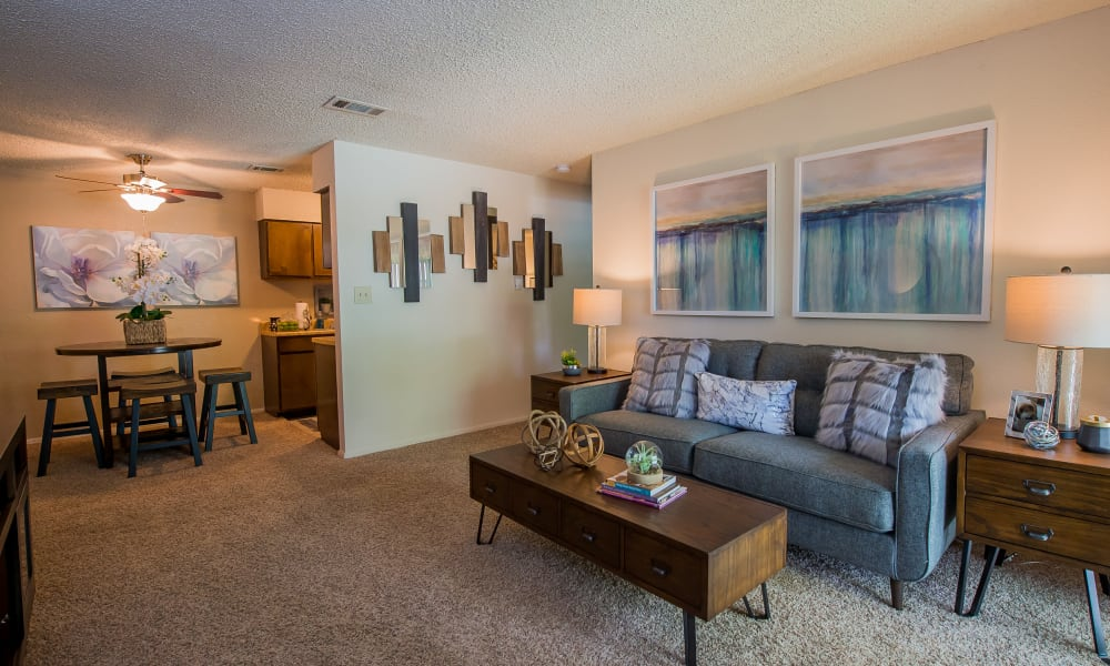 Spacious living area at Eagle Point Apartments in Tulsa, Oklahoma