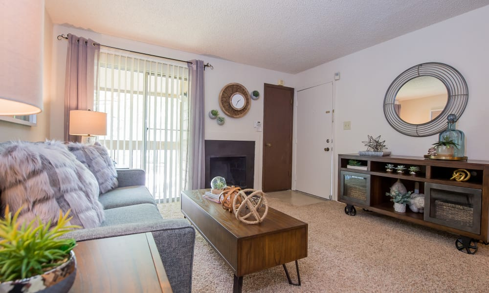 Large windows in the living room at Eagle Point Apartments in Tulsa, Oklahoma