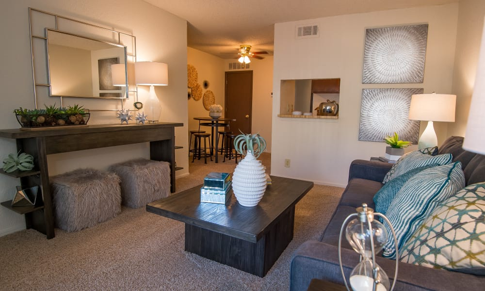 Well-lit living room at Eagle Point Apartments in Tulsa, Oklahoma
