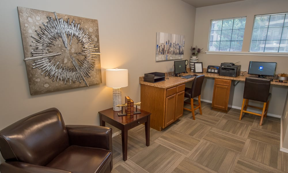 Inside the leasing office at Crown Chase Apartments in Wichita, Kansas