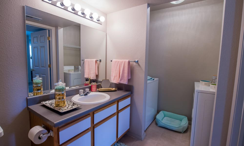Bathroom at Crown Chase Apartments in Wichita, Kansas