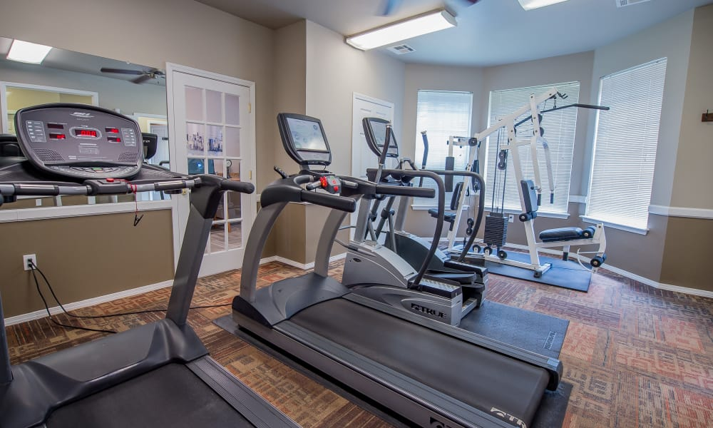 Fully equipped gym for residents at Crown Chase Apartments in Wichita, Kansas