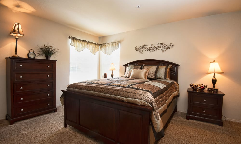 Bedroom at Crown Chase Apartments in Wichita, Kansas