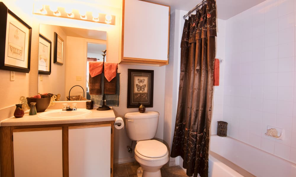 Bathroom with an extra cabinet at Crown Chase Apartments in Wichita, Kansas