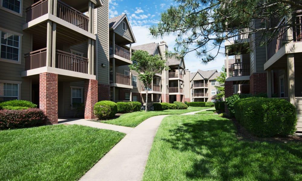 Walkway between apartments at Crown Chase Apartments in Wichita, Kansas