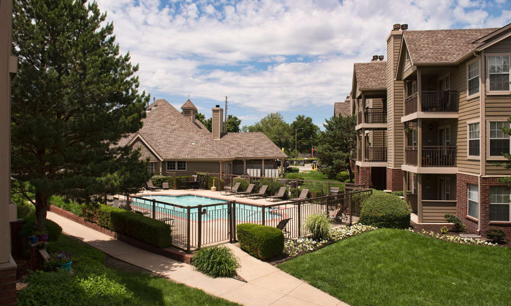 An enclosed pool area at Crown Chase Apartments in Wichita, Kansas