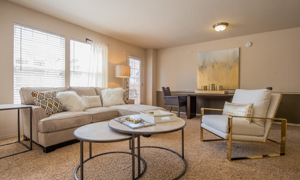 Well-lit living room at Fountain Lake in Edmond, Oklahoma