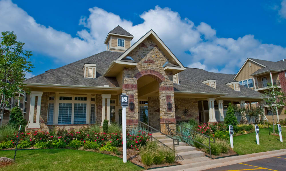 Leasing office exterior at Fountain Lake in Edmond, Oklahoma