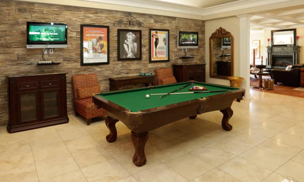 A pool room at Lexington Park Apartment Homes in North Little Rock, Arkansas