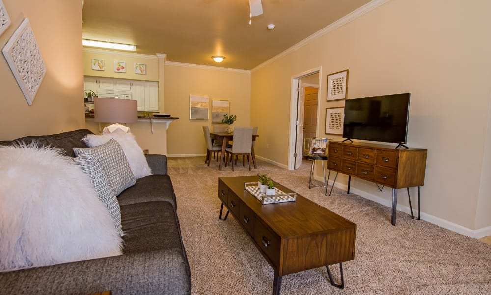 Comfy living room set-up at Lexington Park Apartment Homes in North Little Rock, Arkansas