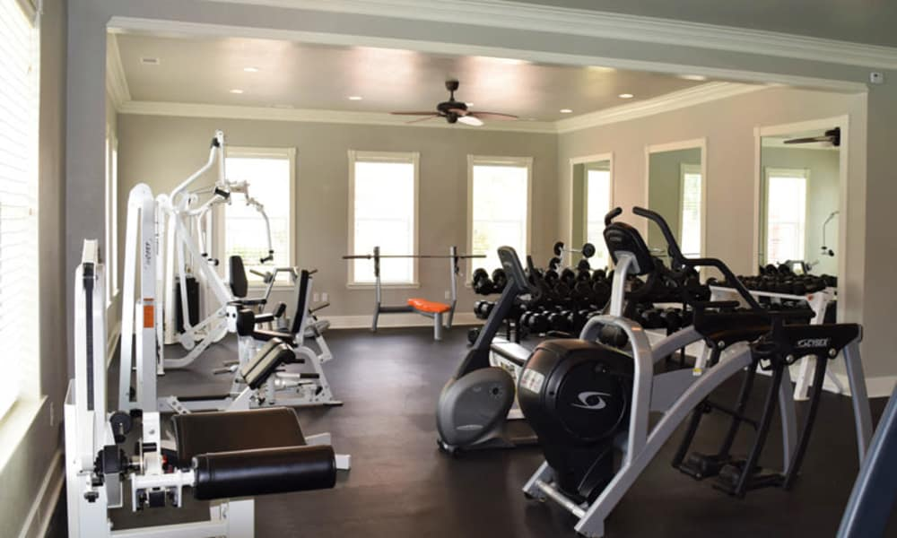 Fully equipped gym at Lexington Park Apartment Homes in North Little Rock, Arkansas
