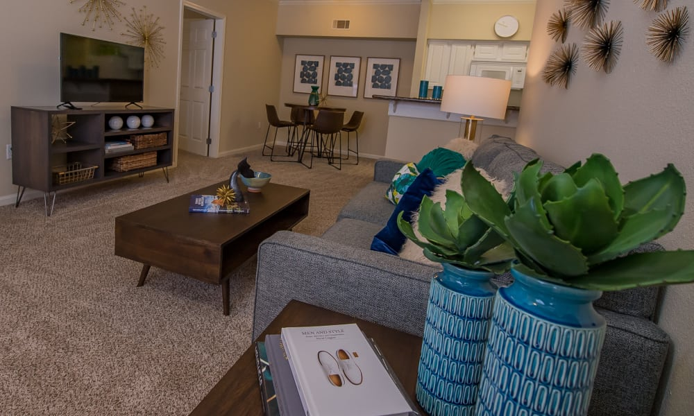 Beautifully decorated living room at Lexington Park Apartment Homes in North Little Rock, Arkansas