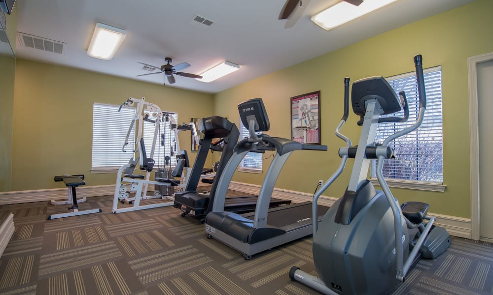 Fully equipped gym for residents at Newport Wichita in Wichita, Kansas