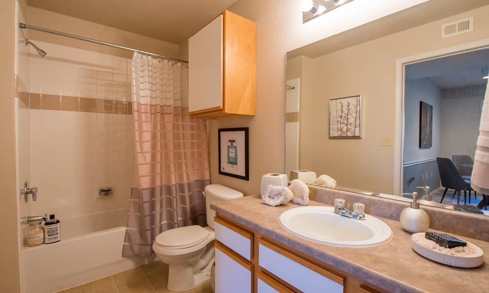 Well-lit bathroom at Newport Wichita in Wichita, Kansas