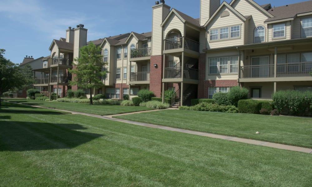 Walkway between apartments at Newport Wichita in Wichita, Kansas