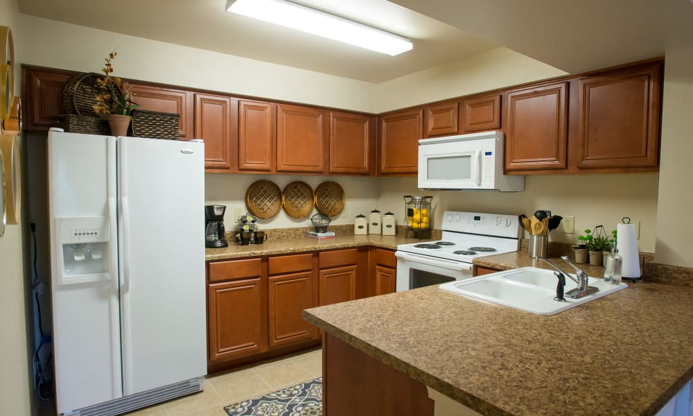 Fully equipped kitchen at Nickel Creek Apartments in Tulsa, Oklahoma