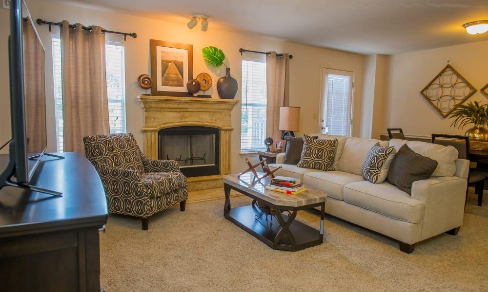 Spacious living room at Nickel Creek Apartments in Tulsa, Oklahoma