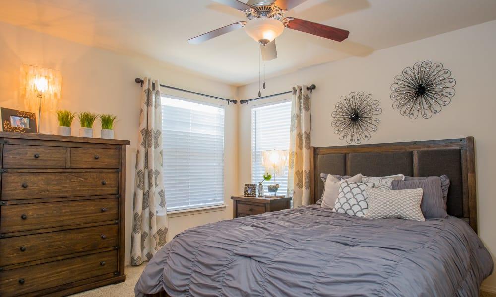 Master bedroom at Nickel Creek Apartments in Tulsa, Oklahoma
