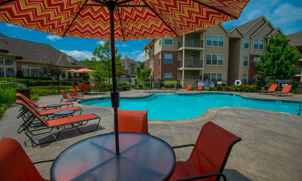 The community pool at Nickel Creek Apartments in Tulsa, Oklahoma
