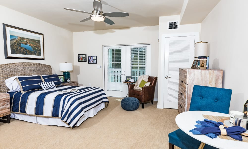 Resident bedroom at Merrill Gardens at Carolina Park in Mount Pleasant, South Carolina.