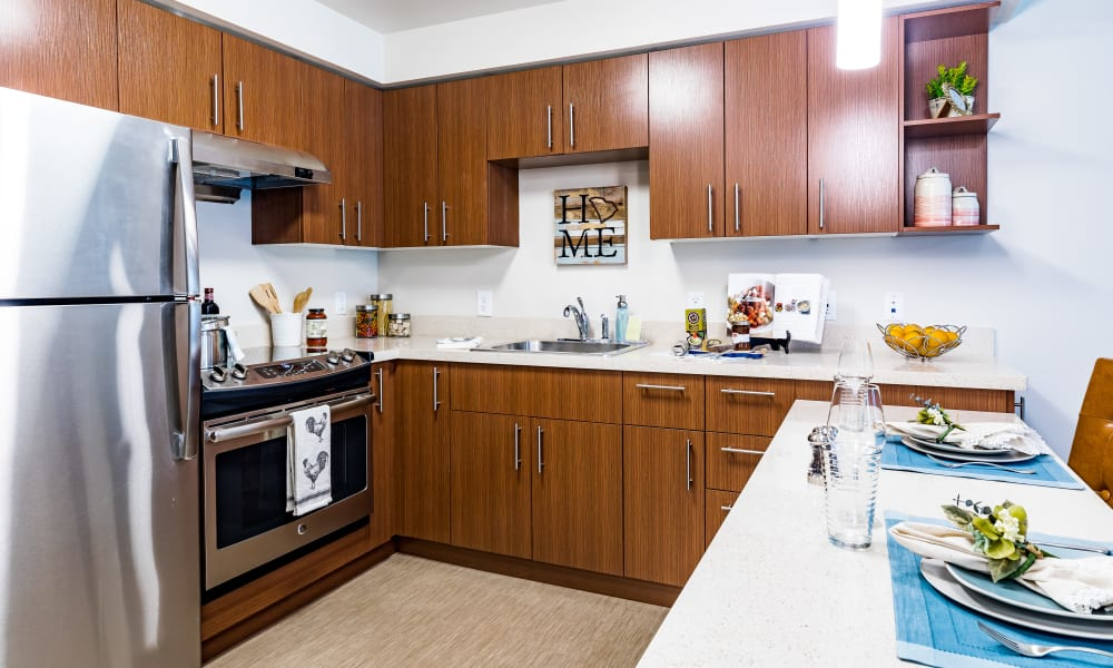 Resident kitchen at Merrill Gardens at Carolina Park in Mount Pleasant, South Carolina.