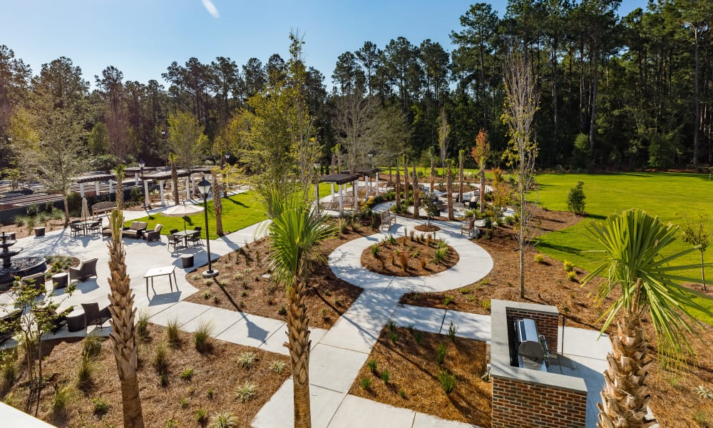 community outdoor area at Merrill Gardens at Carolina Park in Mount Pleasant, South Carolina.