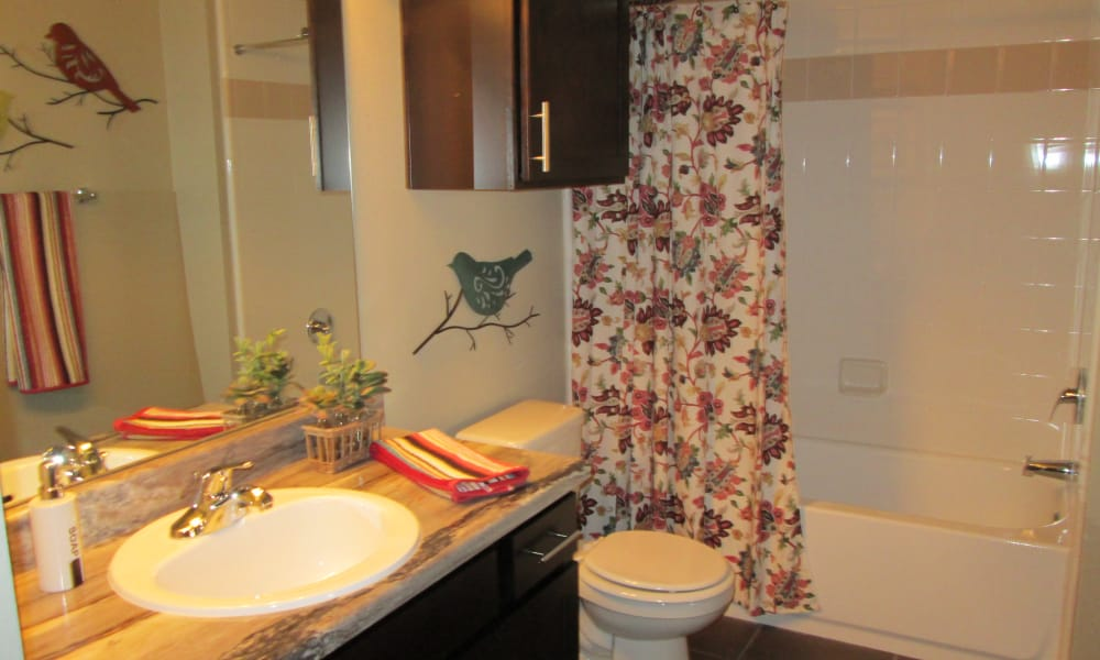 An apartment bathroom at Park at Coulter in Amarillo, Texas