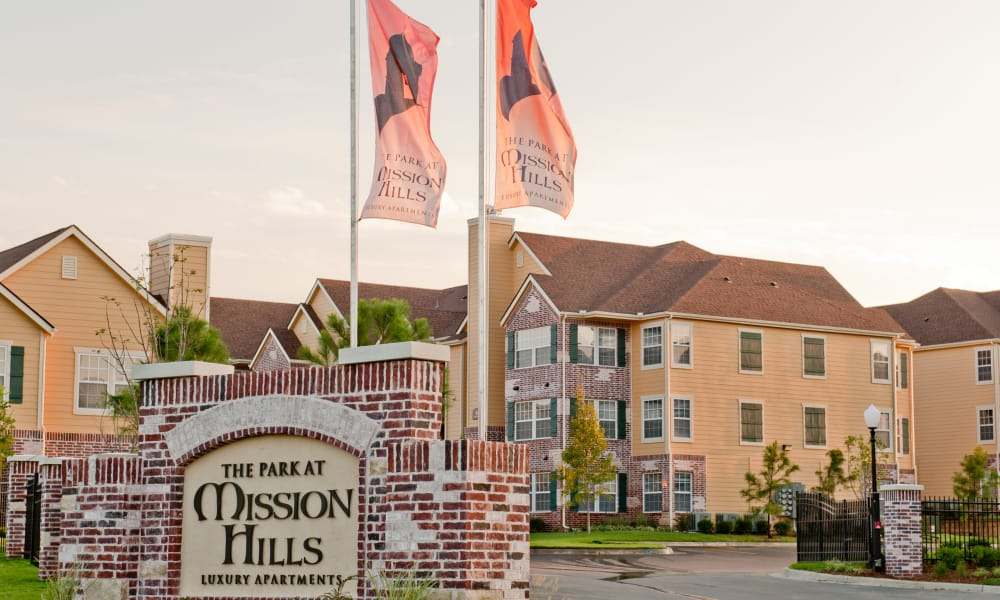 Sign and main entrance to Park at Mission Hills in Broken Arrow, Oklahoma
