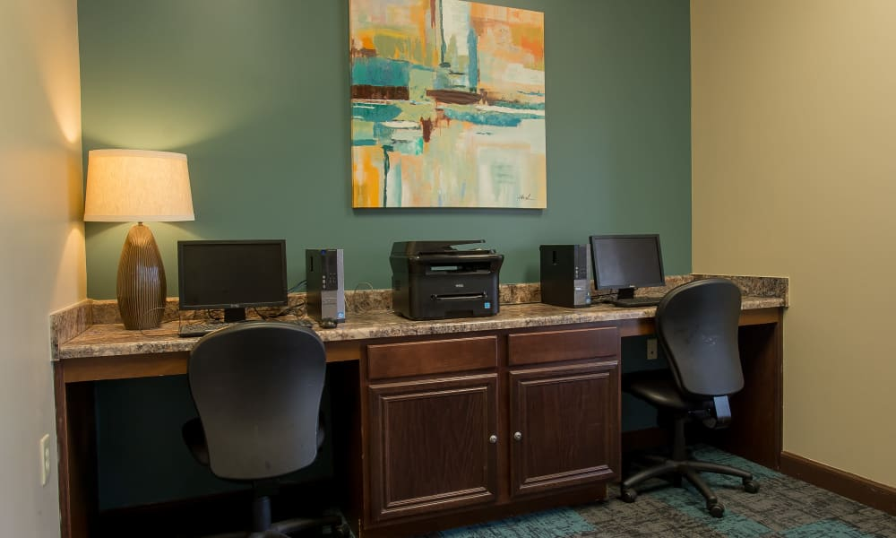 Business center with printer access at Park at Mission Hills in Broken Arrow, Oklahoma