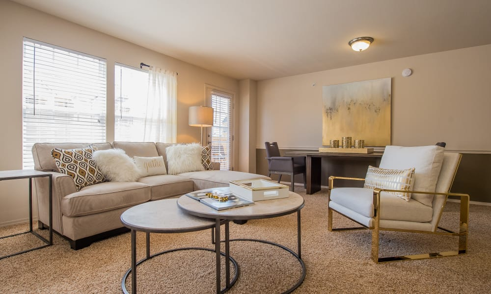 An apartment living room at Fountain Lake in Edmond, Oklahoma