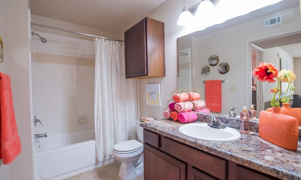 A large apartment bathroom at Fountain Lake in Edmond, Oklahoma