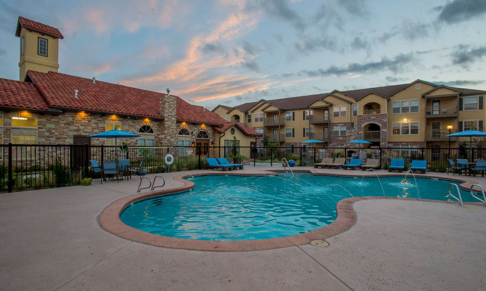 Resort-style pool at Portofino Apartments in Wichita, Kansas