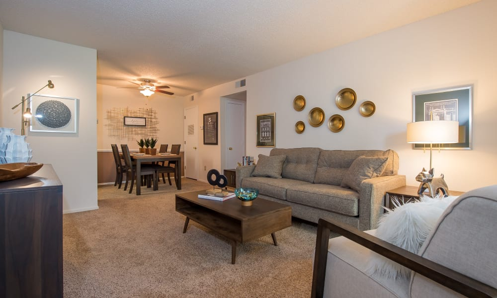 Beautiful living room at Raintree Apartments in Wichita, Kansas