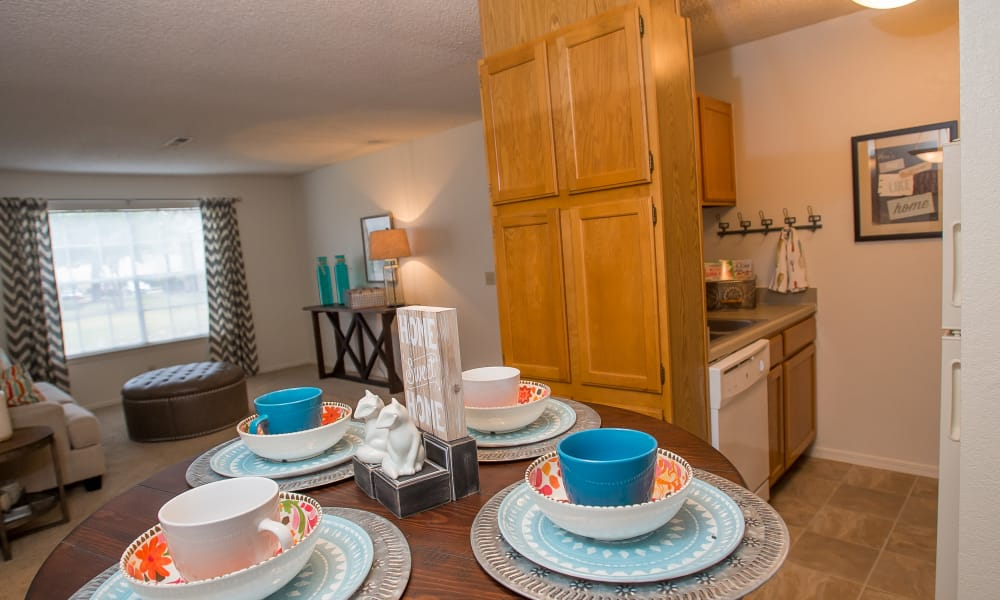 Dining table set at Tammaron Village Apartments in Oklahoma City, Oklahoma