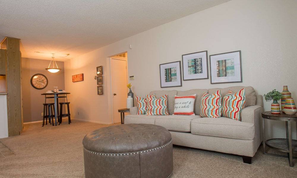 Spacious living room at Tammaron Village Apartments in Oklahoma City, Oklahoma