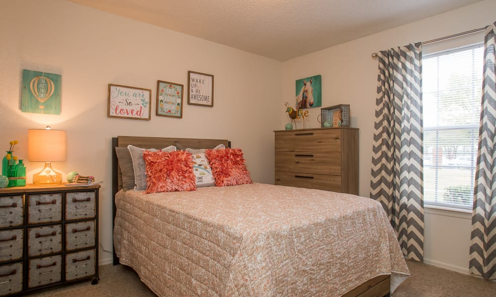 Spacious bedroom at Tammaron Village Apartments in Oklahoma City, Oklahoma