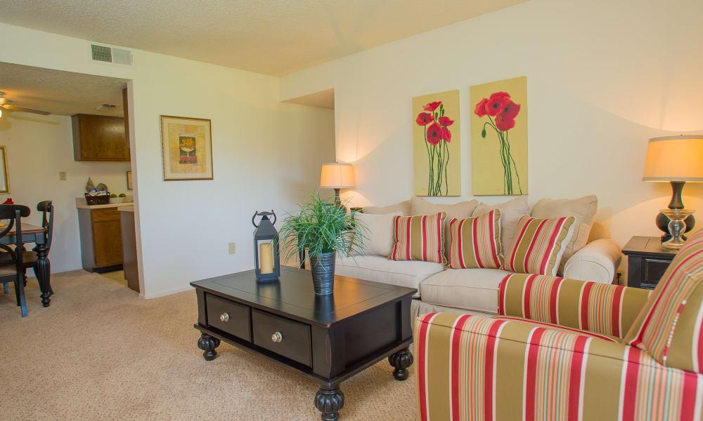 Spacious living room at Riverpark Apartments in Tulsa, Oklahoma