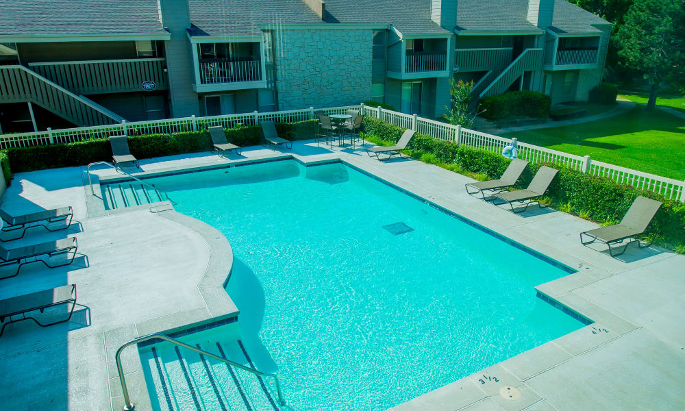 Riverpark Apartments's resort-style swimming pool in Tulsa, Oklahoma