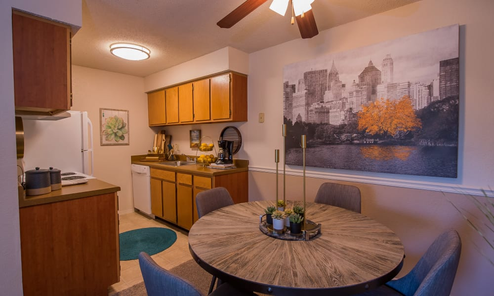 Dining table at Silver Springs Apartments in Wichita, Kansas