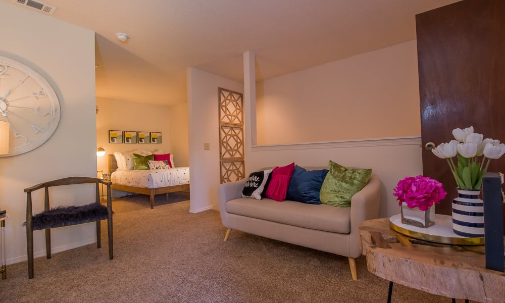 Spacious living area at Silver Springs Apartments in Wichita, Kansas