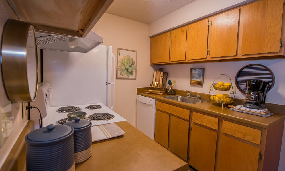 Bright kitchen at Silver Springs Apartments in Wichita, Kansas