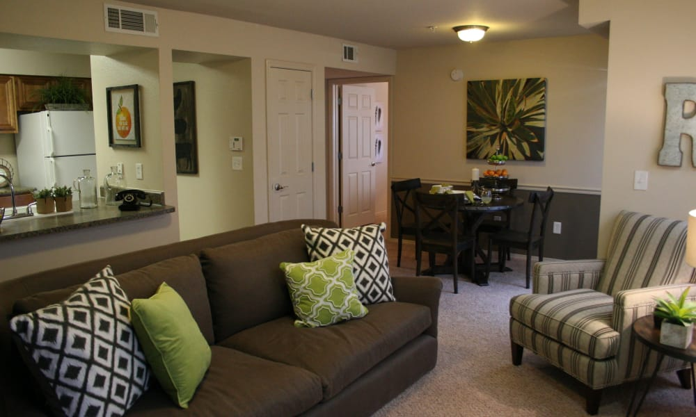 Spacious living room at Remington Apartments in Amarillo, Texas