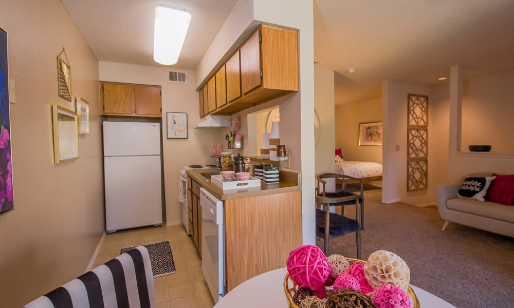 Kitchen next to the living room at Silver Springs Apartments in Wichita, Kansas