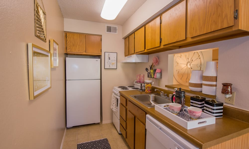 Fully equipped kitchen at Silver Springs Apartments in Wichita, Kansas