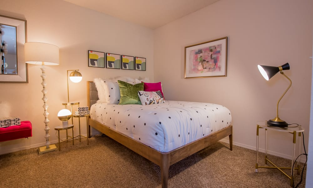 Large open bedroom at Silver Springs Apartments in Wichita, Kansas