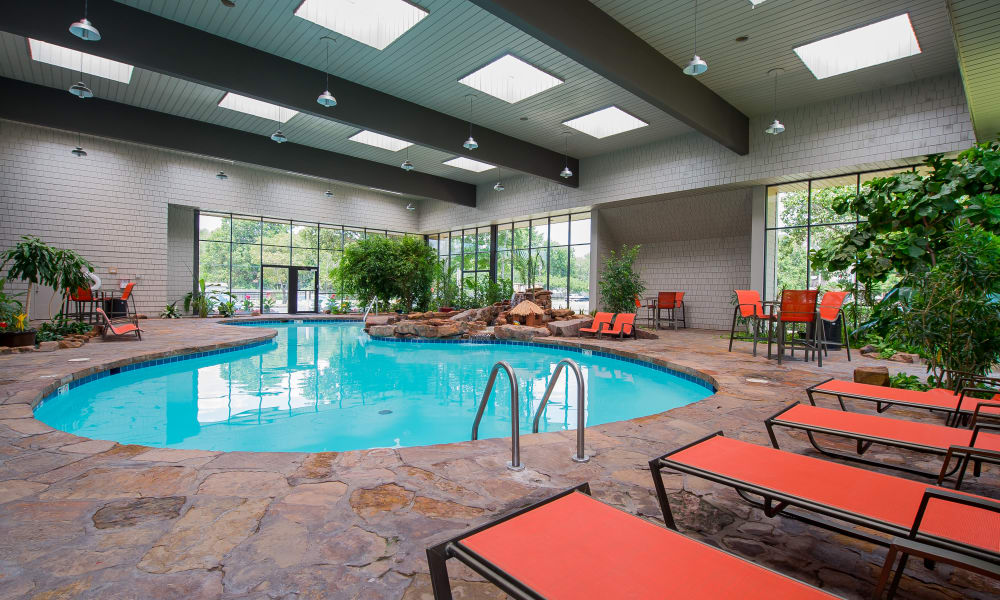 Poolside seating at Silver Springs Apartments in Wichita, Kansas