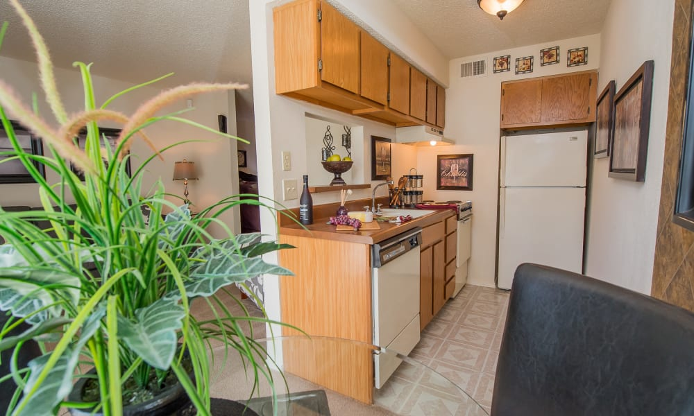 An apartment kitchen at Sunchase Ridgeland Apartments in Ridgeland, MS