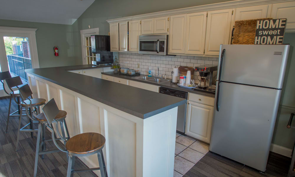 Fully equipped kitchen in the resident clubhouse at The Greens of Bedford in Tulsa, Oklahoma