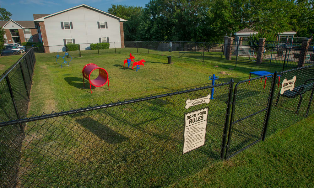 Onsite dog park with agility course at The Greens of Bedford in Tulsa, Oklahoma