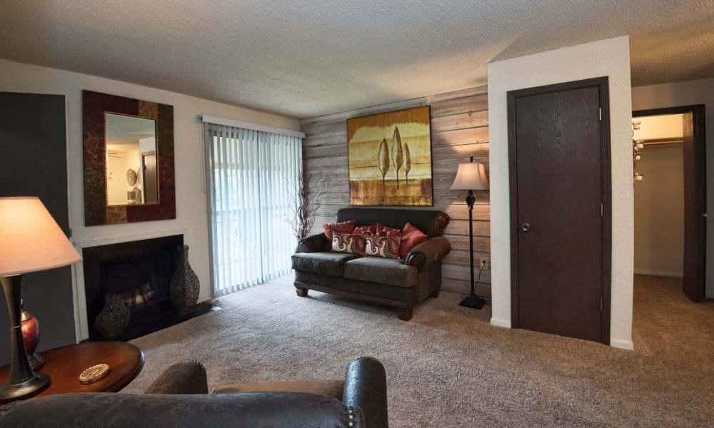 Living room at Aspen Park Apartments in Wichita, Kansas